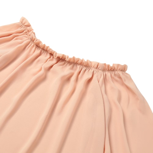 New Fashion Women Chiffon T-Shirt Slash Neck Flouncing Ruffles Lantern Sleeve Off Shoulder Casual Top PinkApparel &amp; Jewelry<br>New Fashion Women Chiffon T-Shirt Slash Neck Flouncing Ruffles Lantern Sleeve Off Shoulder Casual Top Pink<br>