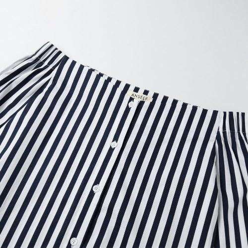 Women Striped Shirt Off the Shoulder Top Cotton Long Sleeve Female Blouse Top Dark BlueApparel &amp; Jewelry<br>Women Striped Shirt Off the Shoulder Top Cotton Long Sleeve Female Blouse Top Dark Blue<br>