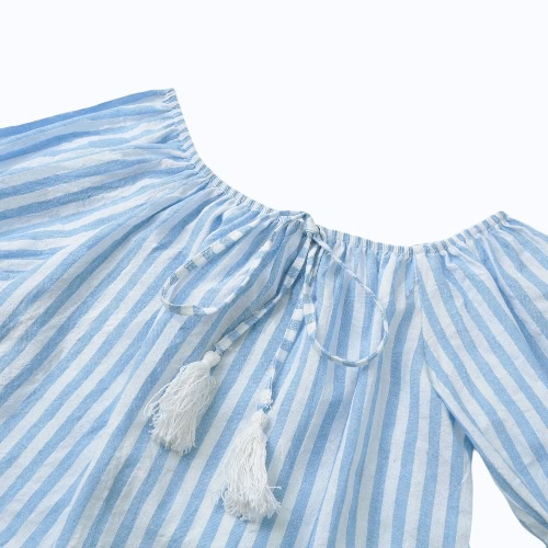 New Sexy Women Off Shoulder Blouse Stripes 3/4 Bell Sleeves Slash Neck Pullover Casual Top BlueApparel &amp; Jewelry<br>New Sexy Women Off Shoulder Blouse Stripes 3/4 Bell Sleeves Slash Neck Pullover Casual Top Blue<br>