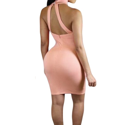 New Sexy Women Dress Backless Halter Strap Sleeveless Zipper Solid Bodycon Nightclub Party Mini Dress White/ PinkApparel &amp; Jewelry<br>New Sexy Women Dress Backless Halter Strap Sleeveless Zipper Solid Bodycon Nightclub Party Mini Dress White/ Pink<br>