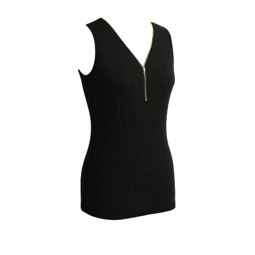 New Fashion Women Tank Top Zipper V-Neck Sleeveless Casual Vest Slim TopApparel &amp; Jewelry<br>New Fashion Women Tank Top Zipper V-Neck Sleeveless Casual Vest Slim Top<br>