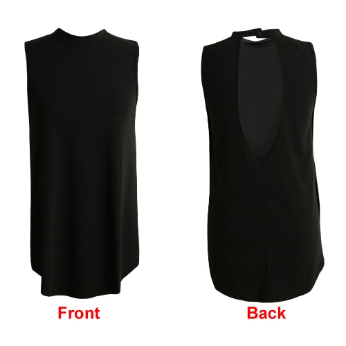 New Fashion Women Tank Top Hollow Out Side Splits Button Stand Collar Sleeveless Casual Vest BlackApparel &amp; Jewelry<br>New Fashion Women Tank Top Hollow Out Side Splits Button Stand Collar Sleeveless Casual Vest Black<br>