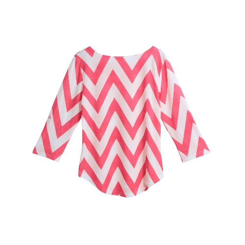 New Women Autumn Striped T-Shirt Chevron Print Three Quarter Rolled Sleeve Pocket Asymmetric Hem Casual Top PinkApparel &amp; Jewelry<br>New Women Autumn Striped T-Shirt Chevron Print Three Quarter Rolled Sleeve Pocket Asymmetric Hem Casual Top Pink<br>