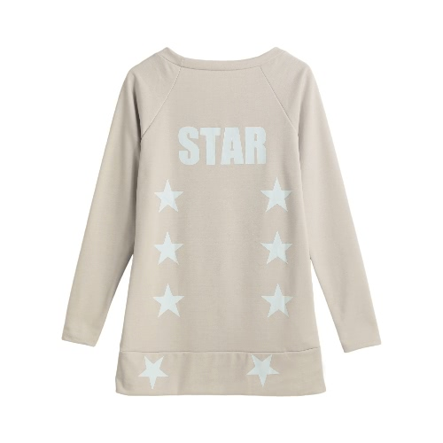 New Women Autumn Winter Casual T-Shirt Star Letter Print Pullover Long Sleeves Hoody Sweatshirts Top BeigeApparel &amp; Jewelry<br>New Women Autumn Winter Casual T-Shirt Star Letter Print Pullover Long Sleeves Hoody Sweatshirts Top Beige<br>