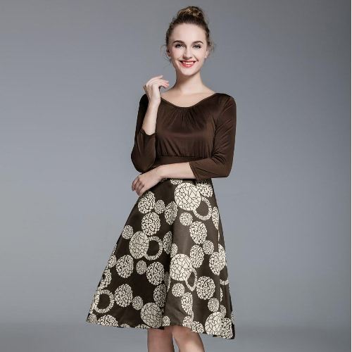 New Women Plus Size Dress Ruched Detailing at Front Geometric Print Large Hooked Hem CoffeeApparel &amp; Jewelry<br>New Women Plus Size Dress Ruched Detailing at Front Geometric Print Large Hooked Hem Coffee<br>