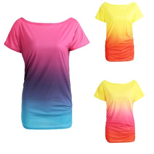 New Fashion Women T-Shirt Rainbow Gradient Ruffled O-Neck Short Sleeve Casual Tees TopApparel &amp; Jewelry<br>New Fashion Women T-Shirt Rainbow Gradient Ruffled O-Neck Short Sleeve Casual Tees Top<br>