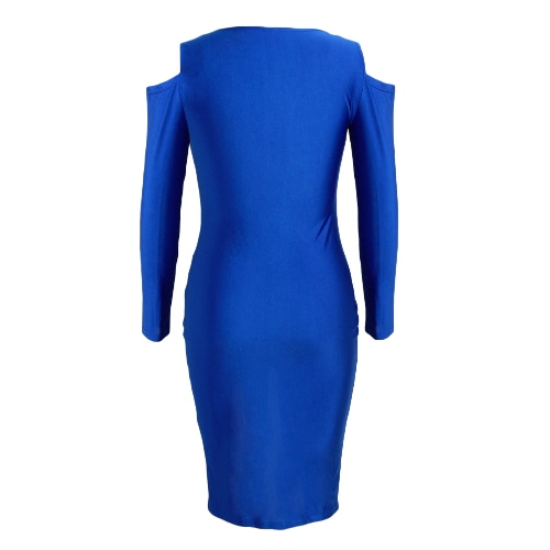 New Fashion Women Bodycon Dress Front Zip Opening Cold Shoulder Long Sleeves Party Dress Black/Royal Blue/RedApparel &amp; Jewelry<br>New Fashion Women Bodycon Dress Front Zip Opening Cold Shoulder Long Sleeves Party Dress Black/Royal Blue/Red<br>