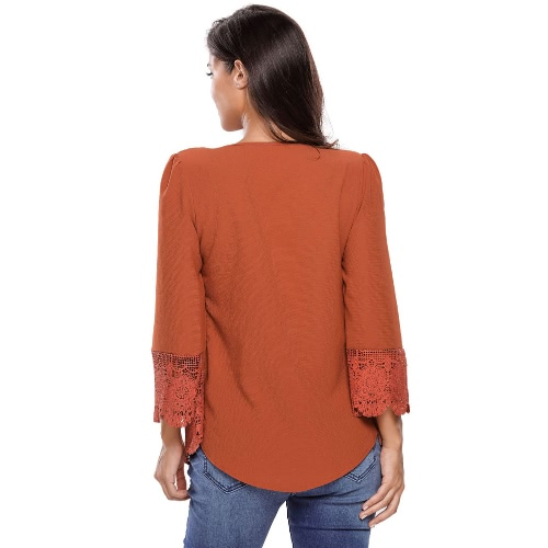 New Sexy Women Lace Button Up Blouse Deep V Neck Pleats Crochet Hem 3/4 Sleeve Loose Lady Blouse TopApparel &amp; Jewelry<br>New Sexy Women Lace Button Up Blouse Deep V Neck Pleats Crochet Hem 3/4 Sleeve Loose Lady Blouse Top<br>