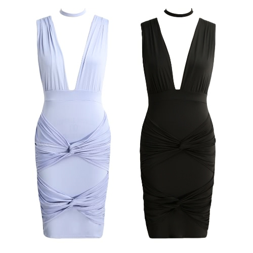 New Sexy Women Dress Deep V-Neck Choker Twist Bandage V Back Nightclub Party Mini Dress Purple/BlackApparel &amp; Jewelry<br>New Sexy Women Dress Deep V-Neck Choker Twist Bandage V Back Nightclub Party Mini Dress Purple/Black<br>