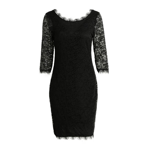 New Sexy Women Lace Bodycon Dress O Neck Three Quarter Sleeve Solid Sheath Evening Party Mini Dress Black/ GreenApparel &amp; Jewelry<br>New Sexy Women Lace Bodycon Dress O Neck Three Quarter Sleeve Solid Sheath Evening Party Mini Dress Black/ Green<br>