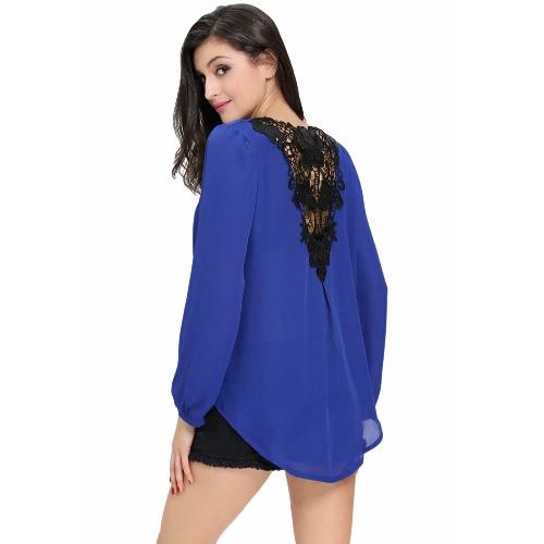 New Sexy Women Crochet Back Chiffon Blouse V-Neck Long Sleeve Asymmetric Hem T-Shirt Top