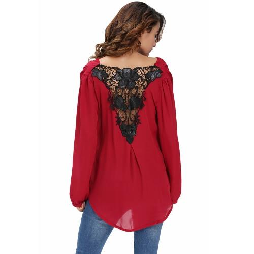 New Sexy Women Crochet Back Chiffon Blouse V-Neck Long Sleeve Asymmetric Hem T-Shirt TopApparel &amp; Jewelry<br>New Sexy Women Crochet Back Chiffon Blouse V-Neck Long Sleeve Asymmetric Hem T-Shirt Top<br>