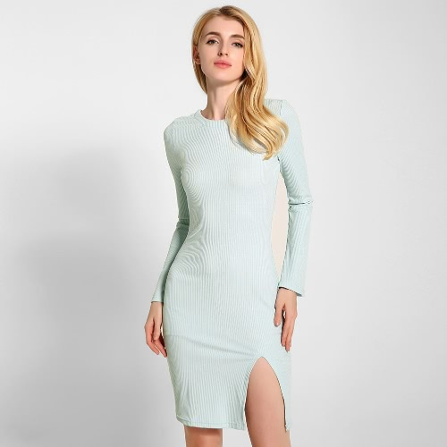 New Sexy Women Knitted Dress Solid Color Cross Strap Flare Sleeve Split Slim Bodycon Ribbed Warm Dress KnitwearApparel &amp; Jewelry<br>New Sexy Women Knitted Dress Solid Color Cross Strap Flare Sleeve Split Slim Bodycon Ribbed Warm Dress Knitwear<br>