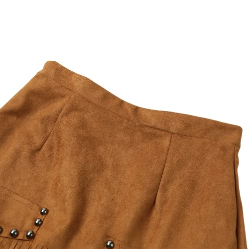New Sexy Women Suede Leather Skirt Tassel Zipper Elegant A-Line Mini Skirt Khaki/BlackApparel &amp; Jewelry<br>New Sexy Women Suede Leather Skirt Tassel Zipper Elegant A-Line Mini Skirt Khaki/Black<br>