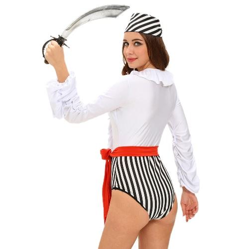 New Women Halloween Naughty Pirate Costume Plunging V-neck Ruffles Lace-Up Flowing Sleeves Three-Piece Set WhiteApparel &amp; Jewelry<br>New Women Halloween Naughty Pirate Costume Plunging V-neck Ruffles Lace-Up Flowing Sleeves Three-Piece Set White<br>