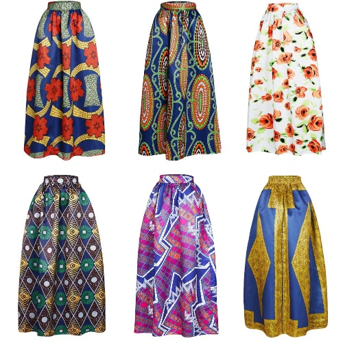 New Women Skirt African Print Ankara Dashiki Bohemian High Waist Pleated A-Line Maxi Flare SkirtApparel &amp; Jewelry<br>New Women Skirt African Print Ankara Dashiki Bohemian High Waist Pleated A-Line Maxi Flare Skirt<br>