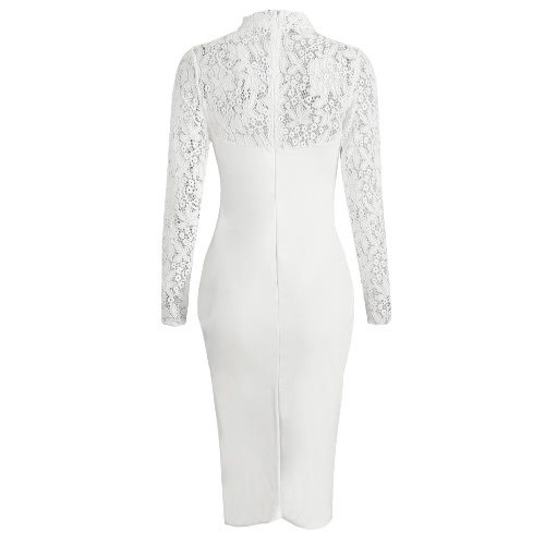 Sexy Women Bodycon Midi Dress Floral Lace High Neck Long Sleeve Back Zipper Night Club Party DressApparel &amp; Jewelry<br>Sexy Women Bodycon Midi Dress Floral Lace High Neck Long Sleeve Back Zipper Night Club Party Dress<br>