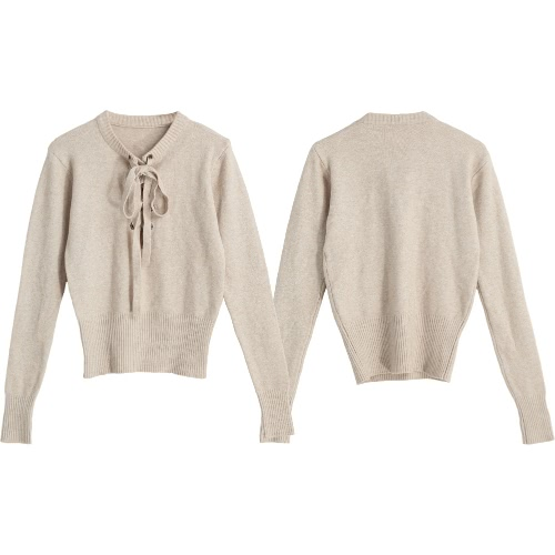 New Fashion Women V Neck Knitted Sweater Bandage Cross Ties Pullover Casual Knitwear Jumper Top Beige / GrayApparel &amp; Jewelry<br>New Fashion Women V Neck Knitted Sweater Bandage Cross Ties Pullover Casual Knitwear Jumper Top Beige / Gray<br>