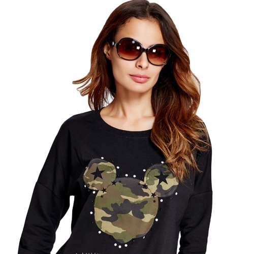 Women Sweatshirt Camouflage Pattern Stars Appliques Letter Rhinestone Casual Pullover Top BlackApparel &amp; Jewelry<br>Women Sweatshirt Camouflage Pattern Stars Appliques Letter Rhinestone Casual Pullover Top Black<br>