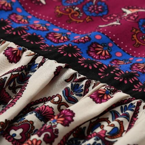 Vintage Women Floral Printed Strap Long Dress V-Neck Cold Shoulder Sleeveless Bohemia Maxi Swing Dress BurgundyApparel &amp; Jewelry<br>Vintage Women Floral Printed Strap Long Dress V-Neck Cold Shoulder Sleeveless Bohemia Maxi Swing Dress Burgundy<br>