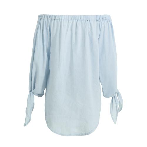New Women Denim Off-Shoulder Blouse Slash Neck Arm Tie Buttons Curve Hem Casual Top Blue/Light BlueApparel &amp; Jewelry<br>New Women Denim Off-Shoulder Blouse Slash Neck Arm Tie Buttons Curve Hem Casual Top Blue/Light Blue<br>