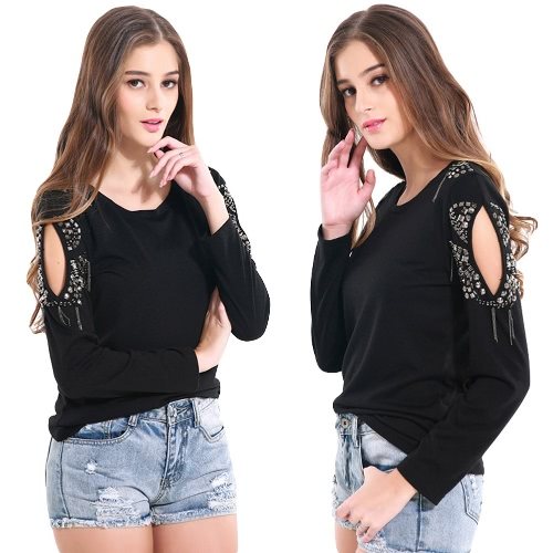 New Fashion Women Cold Shoulder Top Solid Color Round Neck Long Sleeve T-Shirt BlackApparel &amp; Jewelry<br>New Fashion Women Cold Shoulder Top Solid Color Round Neck Long Sleeve T-Shirt Black<br>