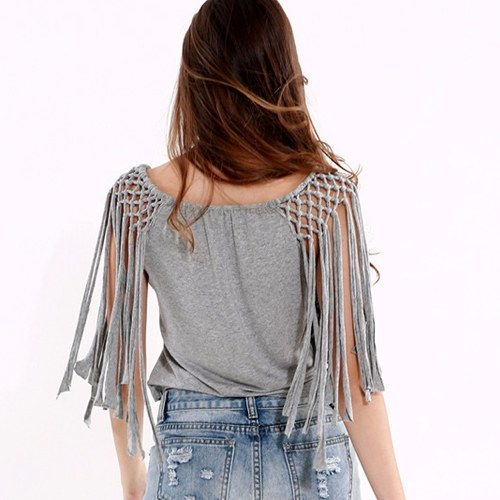 Europe Sexy Women Crop Top Beading Tassel Sleeveless O-Neck Tank Top Solid Color GreyApparel &amp; Jewelry<br>Europe Sexy Women Crop Top Beading Tassel Sleeveless O-Neck Tank Top Solid Color Grey<br>