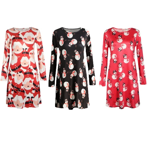 New Women Christmas Dress Santa Snowman Print O-Neck Long Sleeve A-Line Holiday Party DressApparel &amp; Jewelry<br>New Women Christmas Dress Santa Snowman Print O-Neck Long Sleeve A-Line Holiday Party Dress<br>