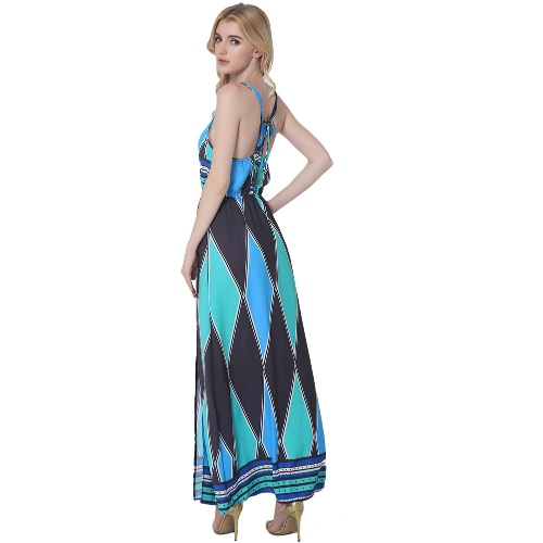 Women Cami Dress Colorblock Geometric Pattern Print V Neck Sleeveless Side Split Maxi Casual One-Piece BlueApparel &amp; Jewelry<br>Women Cami Dress Colorblock Geometric Pattern Print V Neck Sleeveless Side Split Maxi Casual One-Piece Blue<br>
