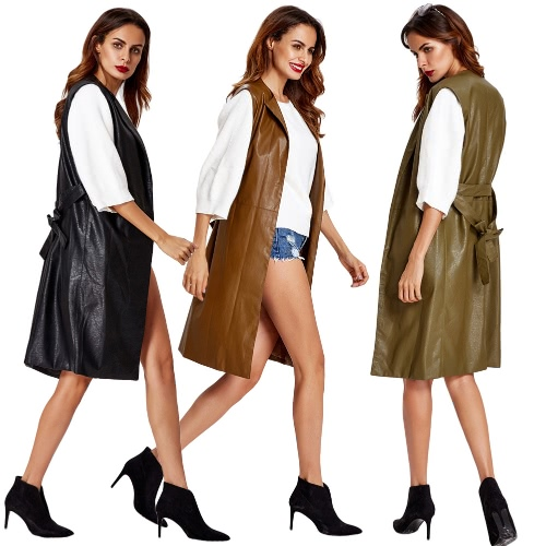 Fashion Women Vest Coat Faux Leather Notched Collar Sleeveless Long Waistcoat Jacket Outerwear Black/Brown/Army GreenApparel &amp; Jewelry<br>Fashion Women Vest Coat Faux Leather Notched Collar Sleeveless Long Waistcoat Jacket Outerwear Black/Brown/Army Green<br>