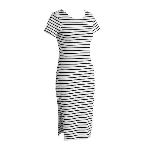 New Fashion Women Striped Midi Dress O Neck Short Sleeve Side Slit Casual Bandage DressApparel &amp; Jewelry<br>New Fashion Women Striped Midi Dress O Neck Short Sleeve Side Slit Casual Bandage Dress<br>