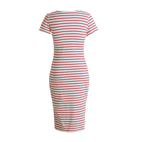 New Fashion Women Striped Midi Dress O Neck Short Sleeve Side Slit Casual Bandage DressApparel &amp; Jewelry<br>New Fashion Women Striped Midi Dress O Neck Short Sleeve Side Slit Casual Bandage Dress<br>