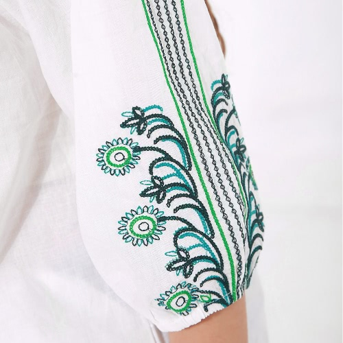 New Women Vintage Blouse Self-Tie O-Neck Ruched Embroidery Three-Quarter Sleeves Loose Fit WhiteApparel &amp; Jewelry<br>New Women Vintage Blouse Self-Tie O-Neck Ruched Embroidery Three-Quarter Sleeves Loose Fit White<br>