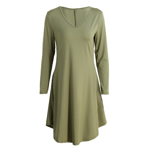 New Fashion Women Loose T-Shirt Dress Solid Color V Neck Long Sleeve Casual Mini DressApparel &amp; Jewelry<br>New Fashion Women Loose T-Shirt Dress Solid Color V Neck Long Sleeve Casual Mini Dress<br>