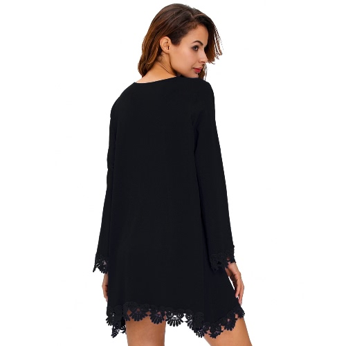 Fashion Women Loose Dress Crochet Lace Trim Sexy Scoop Neck Long Sleeve Mini Swing Dress Royal Blue/BlackApparel &amp; Jewelry<br>Fashion Women Loose Dress Crochet Lace Trim Sexy Scoop Neck Long Sleeve Mini Swing Dress Royal Blue/Black<br>