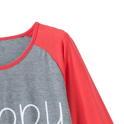 New Fashion Women T-Shirt Letter Print Contrast Color Three Quarter Sleeve Casual Cotton Blouse Tee Tops GreyApparel &amp; Jewelry<br>New Fashion Women T-Shirt Letter Print Contrast Color Three Quarter Sleeve Casual Cotton Blouse Tee Tops Grey<br>