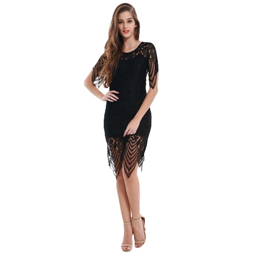 Fashion Women Dress Crochet Lace Solid Color Round Neck Backless Irregular Hem Lining Bodycon Dress BlackApparel &amp; Jewelry<br>Fashion Women Dress Crochet Lace Solid Color Round Neck Backless Irregular Hem Lining Bodycon Dress Black<br>