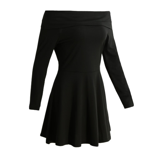 Sexy Women Mini Off Shoulder Dress Solid Slash Neck Long Sleeves Pullover Elegant Party A-Line Dress BlackApparel &amp; Jewelry<br>Sexy Women Mini Off Shoulder Dress Solid Slash Neck Long Sleeves Pullover Elegant Party A-Line Dress Black<br>