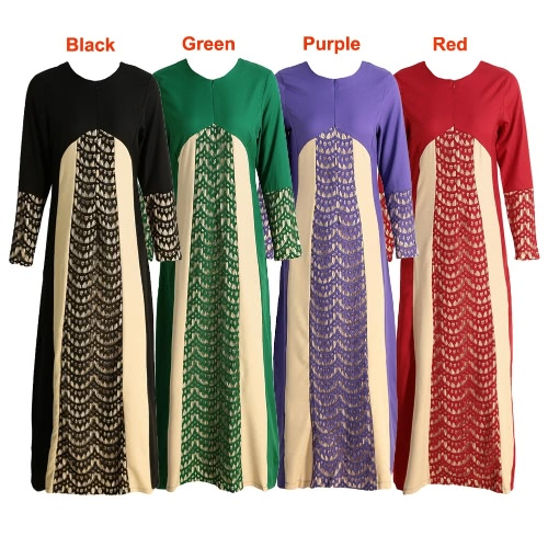 New Fashion Women Muslim Maxi Dress Contrast Color Pitches Long Sleeve Abaya Kaftan Islamic Indonesia Robe Long DressApparel &amp; Jewelry<br>New Fashion Women Muslim Maxi Dress Contrast Color Pitches Long Sleeve Abaya Kaftan Islamic Indonesia Robe Long Dress<br>