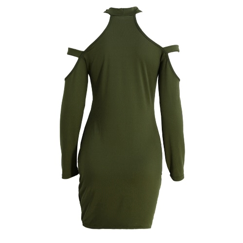 Women Bodycon Dress Cut Out Shoulder Long Sleeves Choker Turtle Neck Stretchy Sexy Party Dress Black/Army Green/RedApparel &amp; Jewelry<br>Women Bodycon Dress Cut Out Shoulder Long Sleeves Choker Turtle Neck Stretchy Sexy Party Dress Black/Army Green/Red<br>