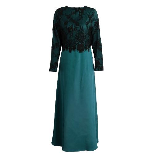 New Women Muslim Long Dress Lace Crochet Maxi Dress Long Sleeve Splicing Zipper Gown Elegant Swing Dress Khaki/Dark Green/PurpleApparel &amp; Jewelry<br>New Women Muslim Long Dress Lace Crochet Maxi Dress Long Sleeve Splicing Zipper Gown Elegant Swing Dress Khaki/Dark Green/Purple<br>