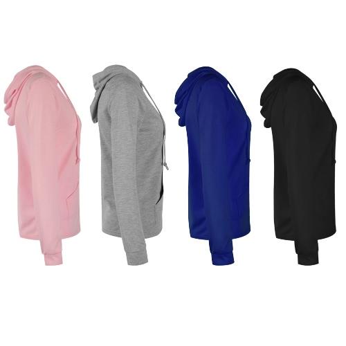Women Plain Hoodie Hooded Zip Sweatershirt Long Sleeves Front Pocket Hoody Jacket OutwearApparel &amp; Jewelry<br>Women Plain Hoodie Hooded Zip Sweatershirt Long Sleeves Front Pocket Hoody Jacket Outwear<br>