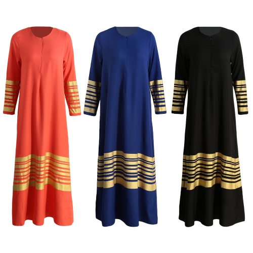 New Women Muslim Maxi Dress Stripes Zipper Long Sleeves Abaya Kaftan Islamic Robe Long Dress Orange/Black/Dark BlueApparel &amp; Jewelry<br>New Women Muslim Maxi Dress Stripes Zipper Long Sleeves Abaya Kaftan Islamic Robe Long Dress Orange/Black/Dark Blue<br>