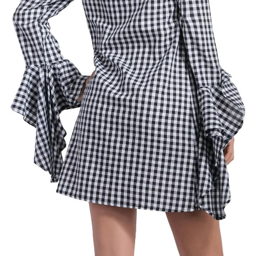 New Fashion Women Off Shoulder Dress Plaid Pattern Slash Neck Irregular Flare Sleeves Mini Dress BlackApparel &amp; Jewelry<br>New Fashion Women Off Shoulder Dress Plaid Pattern Slash Neck Irregular Flare Sleeves Mini Dress Black<br>