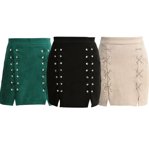 Autumn Women Lace Up Suede Leather Pencil Skirt Mid Waist Zipper Split Bodycon Short Skirt Black/Beige/GreenApparel &amp; Jewelry<br>Autumn Women Lace Up Suede Leather Pencil Skirt Mid Waist Zipper Split Bodycon Short Skirt Black/Beige/Green<br>
