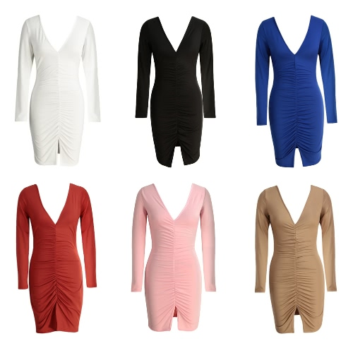 New Women Sexy Dress Ruched Split Hem Deep V Neck Long Sleeves Sheath Bodycon Club Party DressApparel &amp; Jewelry<br>New Women Sexy Dress Ruched Split Hem Deep V Neck Long Sleeves Sheath Bodycon Club Party Dress<br>