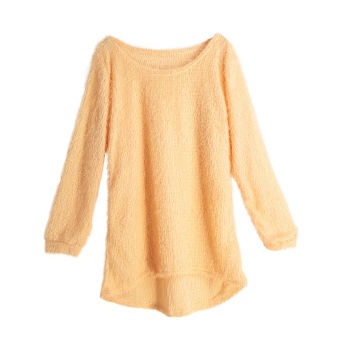New Women Fluffy Knitted Sweater O-Neck Dip Hem Long Sleeves Casual Warm Pullover TopsApparel &amp; Jewelry<br>New Women Fluffy Knitted Sweater O-Neck Dip Hem Long Sleeves Casual Warm Pullover Tops<br>