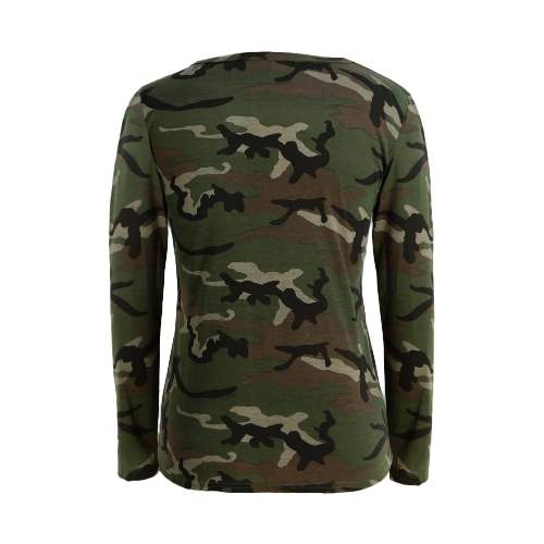 Fashion Women Camouflage Long Sleeve T-Shirt Lace Up Neck Cross Printed Sexy Slim T-Shirt Tops Army GreenApparel &amp; Jewelry<br>Fashion Women Camouflage Long Sleeve T-Shirt Lace Up Neck Cross Printed Sexy Slim T-Shirt Tops Army Green<br>
