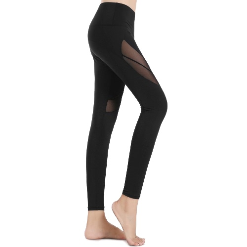 New Women Leggings Sports Pants Sheer Mesh Splicing High Waist Yoga Pants Stretchy Jogging Fitness Tights Gym Trousers Black/PurplApparel &amp; Jewelry<br>New Women Leggings Sports Pants Sheer Mesh Splicing High Waist Yoga Pants Stretchy Jogging Fitness Tights Gym Trousers Black/Purpl<br>
