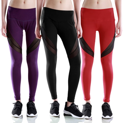 New Women Leggings Sports Pants Sheer Mesh Splicing High Waist Yoga Pants Stretchy Jogging Fitness Tights Gym Trousers Black/PurplApparel &amp; Jewelry<br>New Women Leggings Sports Pants Sheer Mesh Splicing High Waist Yoga Pants Stretchy Jogging Fitness Tights Gym Trousers Black/Purpl<br>